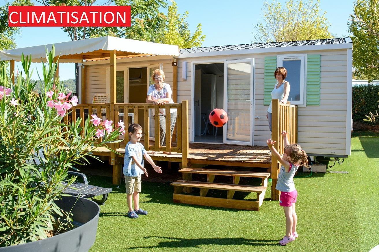 Location - Mobilhome Raimu 28 M² - Climatisé- 2 Chambres - Terrasse 15M² - Camping La Pinède