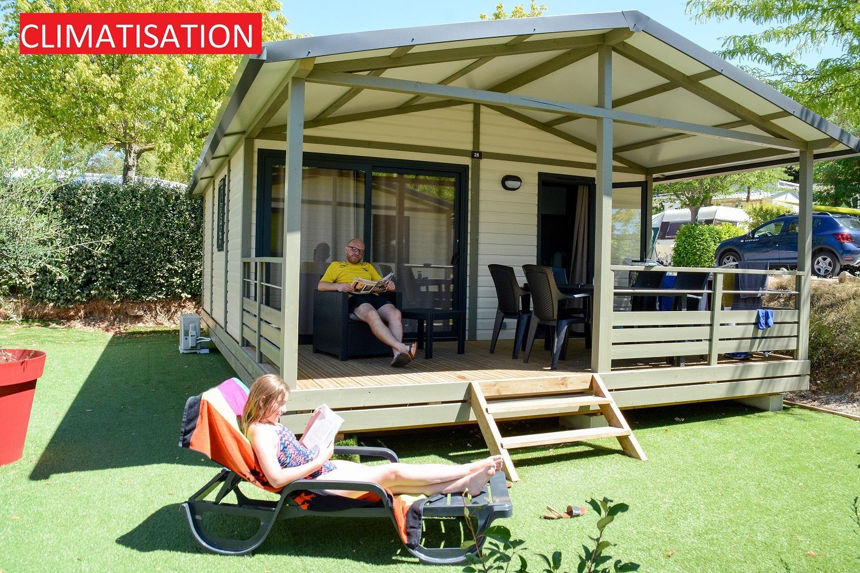 Location - Chalet Daudet 30 M² Climatisé- 2 Chambres - Terrasse 13.5 M² - Camping La Pinède