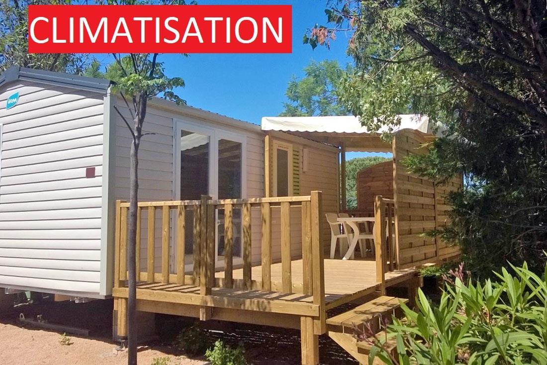 Location - Mobilhome Cezanne 24M² / Climatisé 2 Chambres - Terrasse 15M2 - Camping La Pinède
