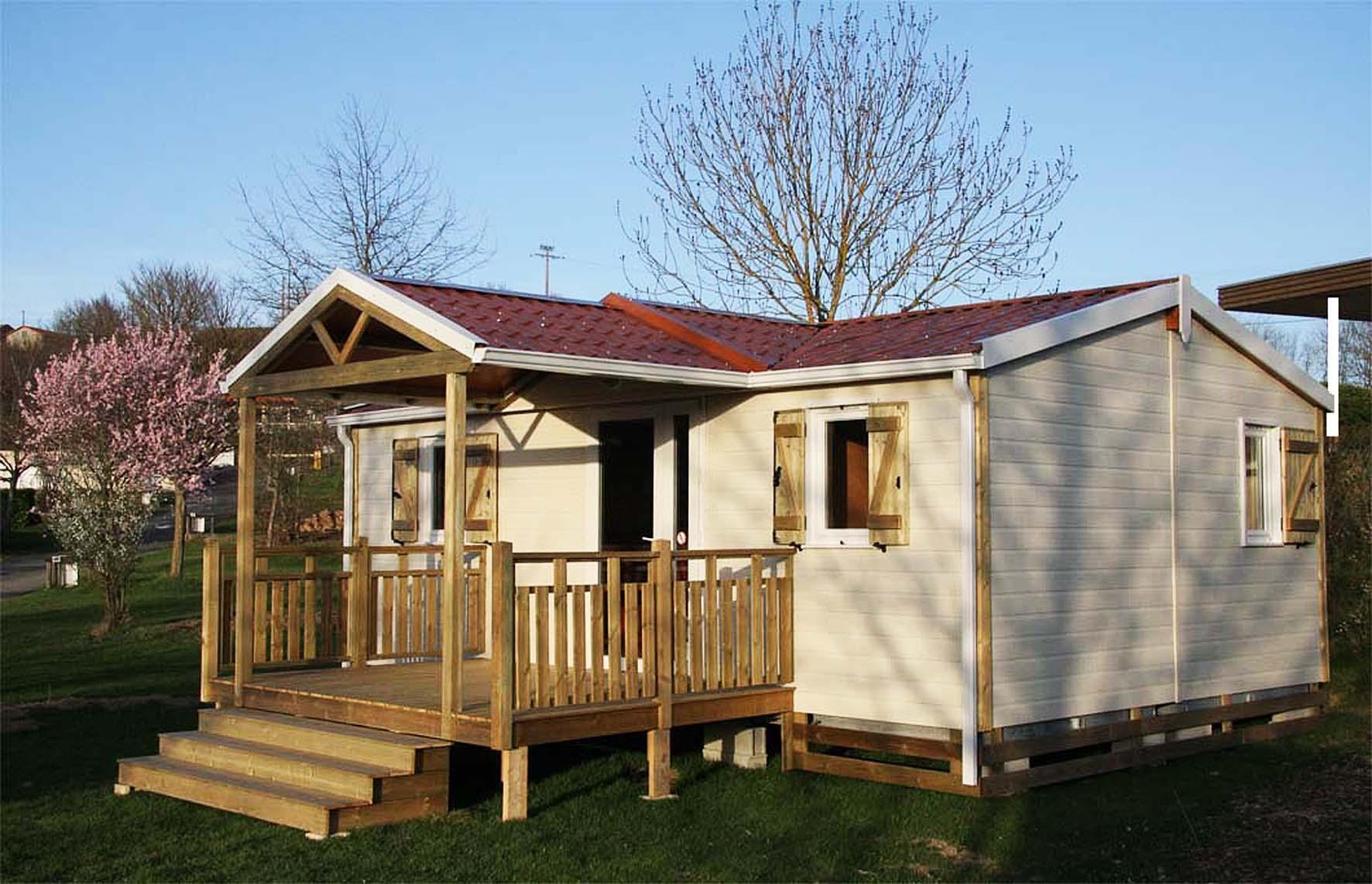 Location - Chalet Confort+ 29M² / 3 Chambres - Terrasse Couverte - Flower Camping de Mars