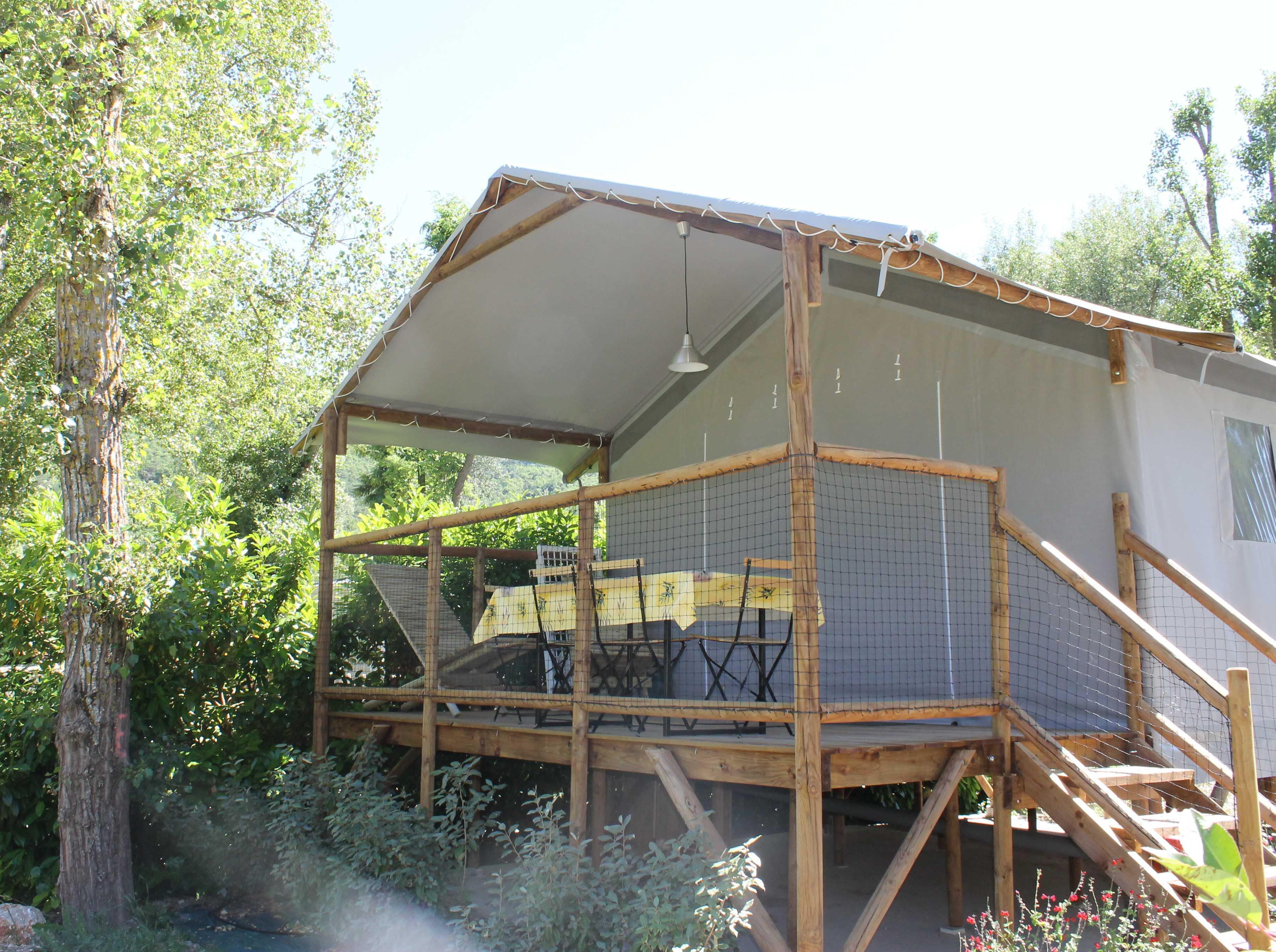 Location - Cabane Confort Lodge Sur Pilotis 32M² (2 Chambres) Terrasse Couverte - Flower Camping La Riviere