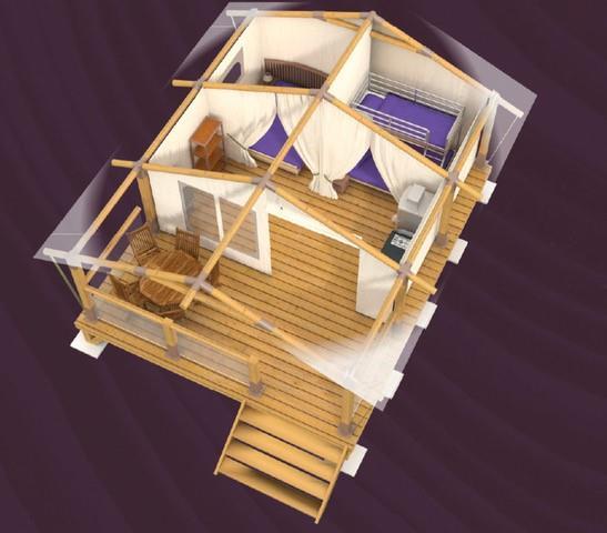 Location - Lodge Sur Pilotis Confort+ 30M² (2 Chambres) Terrasse Couverte 10M² - Sans Sanitaires - Flower Camping La Riviere