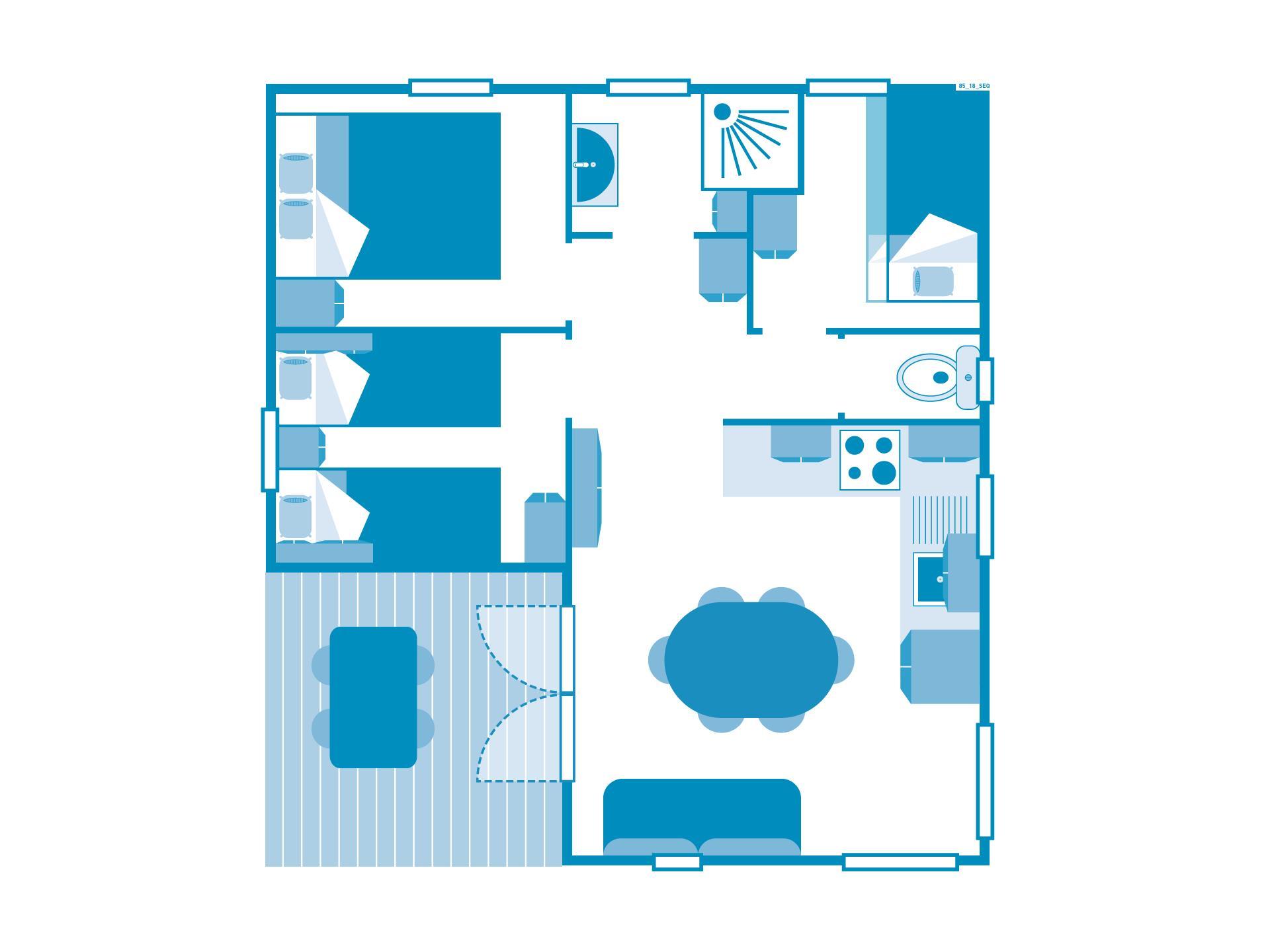 Location - Chalet 3 Chambres Climatisé *** - Camping Sandaya Séquoia Parc