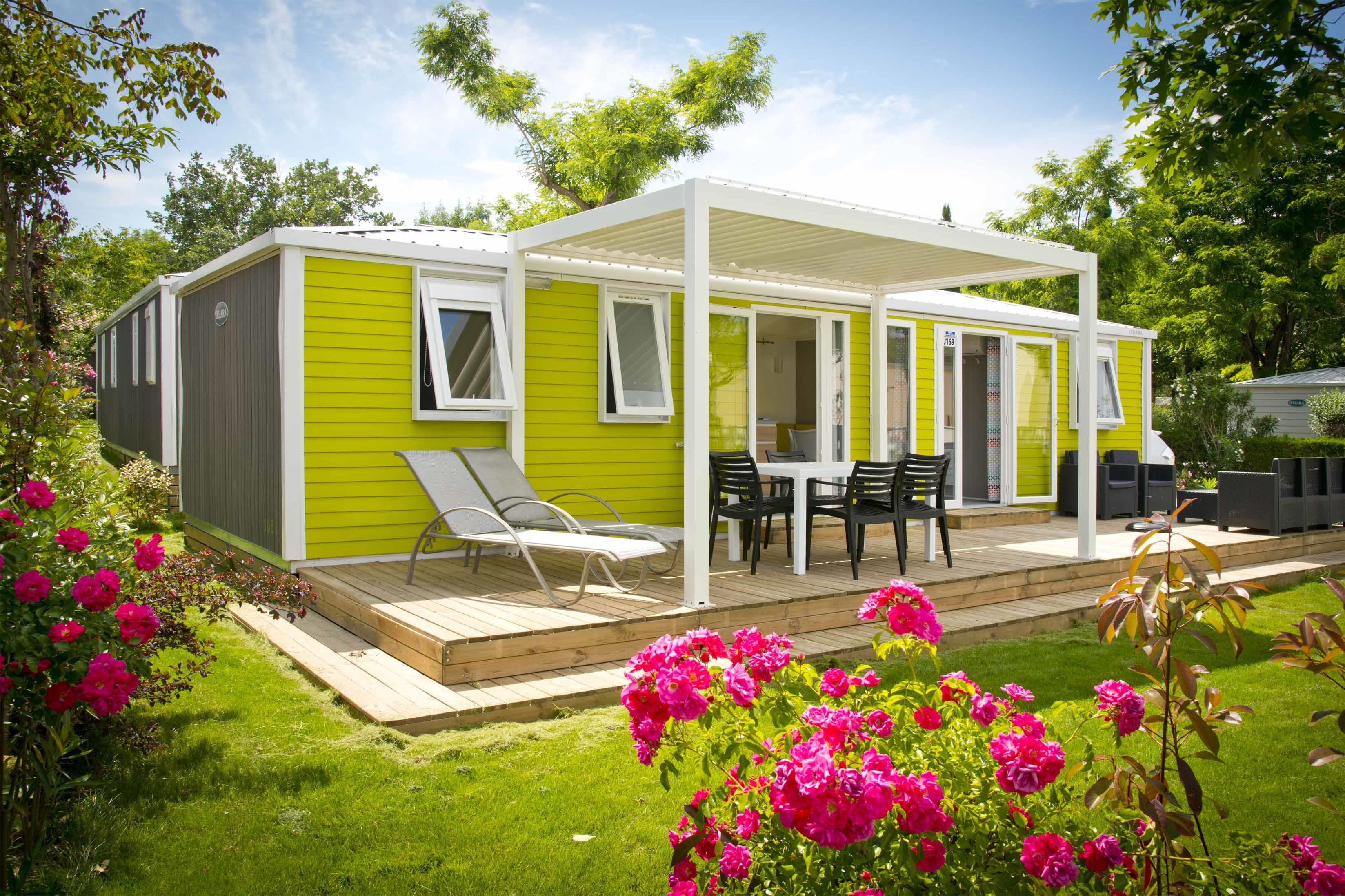 Location - Cottage Premium Burano - 3 Chambres / 2 Salles De Bain - 40M² - Terrasse - Climatisé – Tv - Yelloh! Village Soleil Vivarais