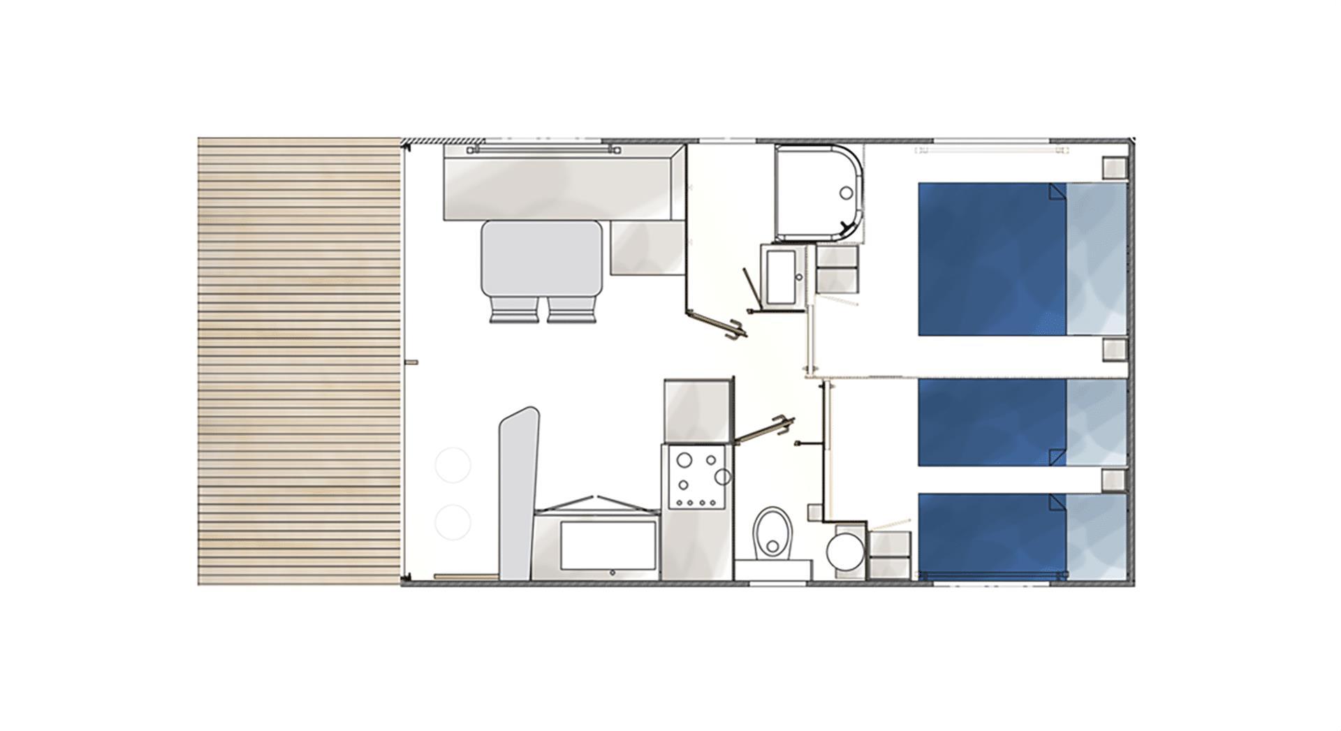 mobil home mediterrannee 20 m2 4 pers.