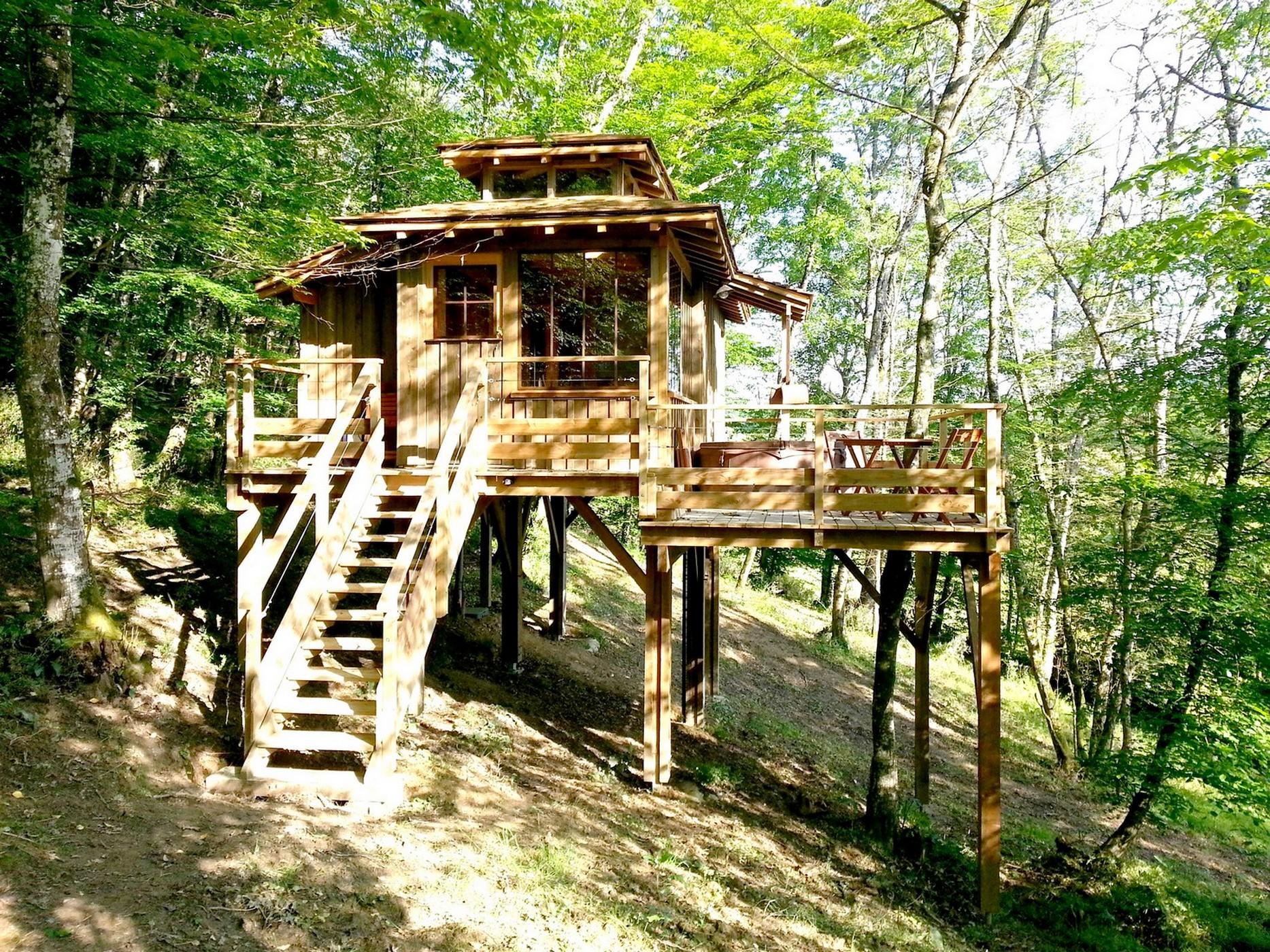 Location - Cabane Et Jacuzzi Privatif - Camping Domaine d'Escapa