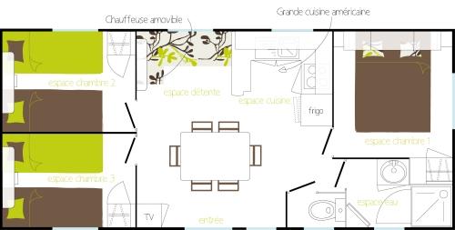Location - Résidence Tamaris Louisiane 3 Chambres 6 Personnes Incluses Dans Le Tarif - Camping du Lac d'Aydat
