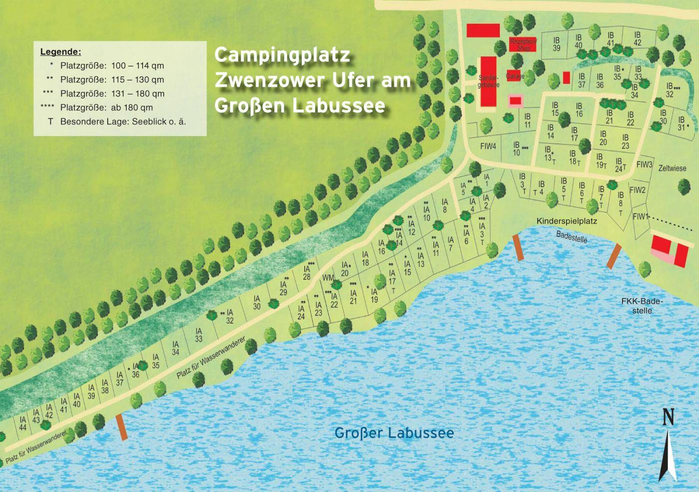 Emplacement - Emplacement Tente / Caravane - Camping Zwenzower Ufer