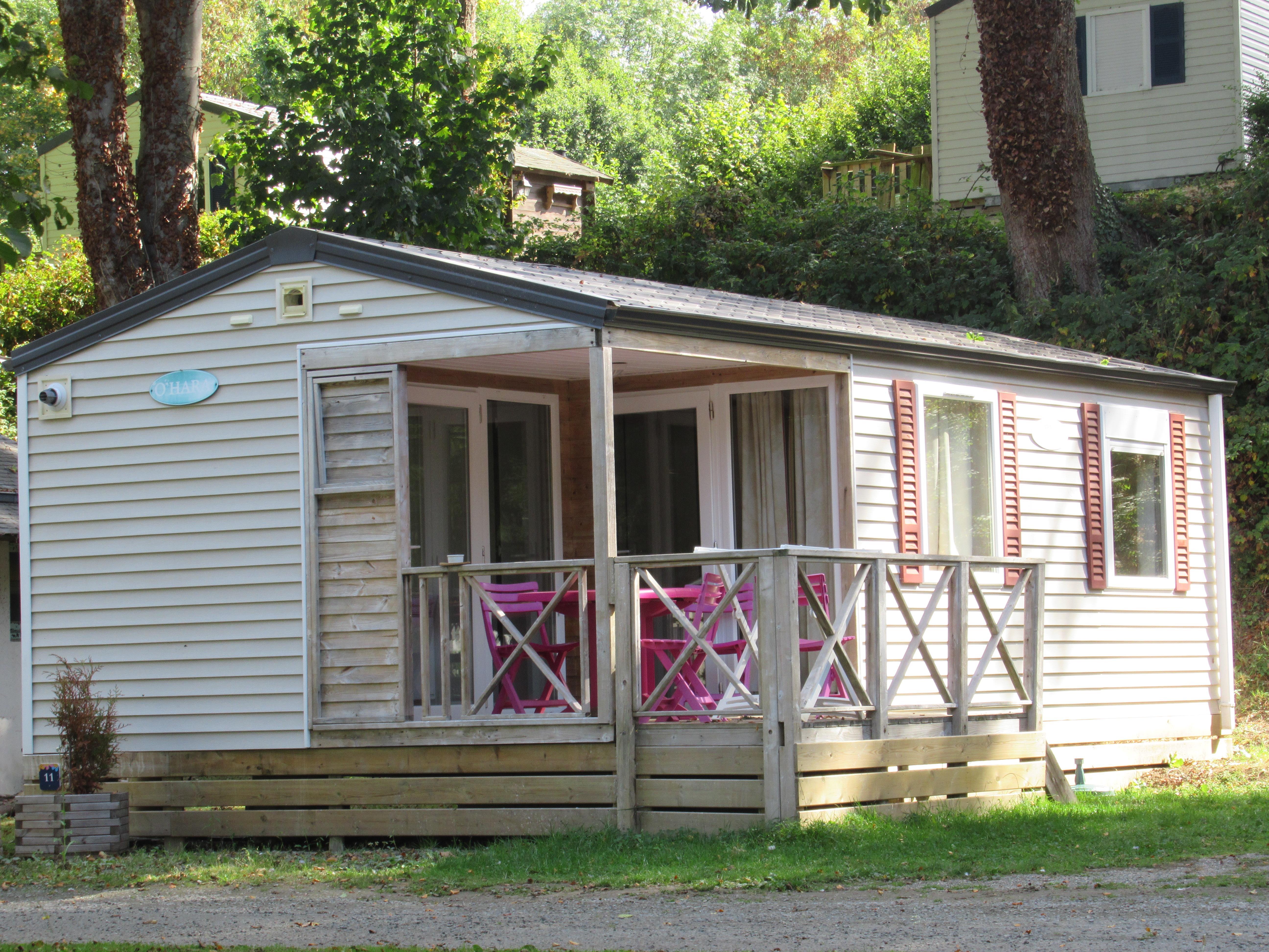 Location - Mobil-Home Confort 27M² 2 Chambres - Terrasse Intégrée Couverte Avec Lave-Vaisselle - Camping des Vallées