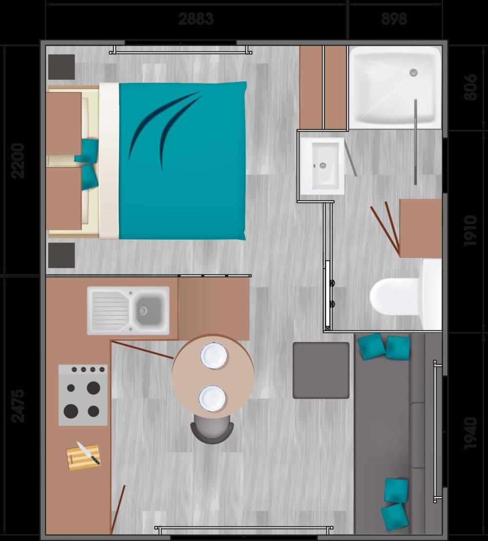 Location - Mobil-Home Confort+ 18M² 1 Chambre - Terrasse Couverte - Camping des Vallées