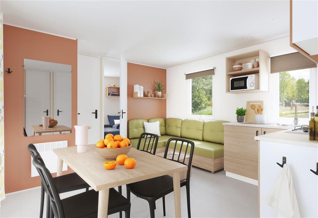 Mobil home L'Aigoual PREMIUM 33m² (3 chambres) + terrasse semi-couverte 18m² + TV + Lave vaisselle