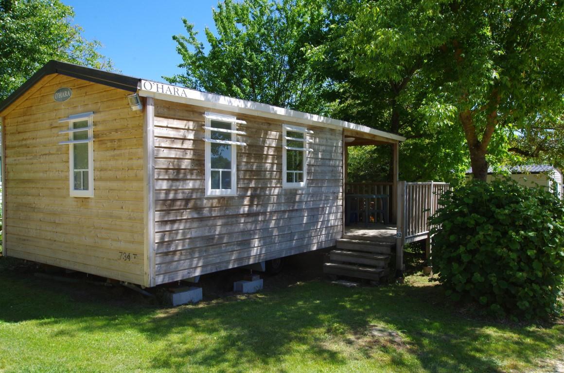 Location - Mobil-Home O'hara Bois Avec Terrasse Semi Couverte - Camping Le Tiradou