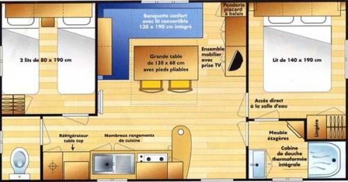 Mobilhome 28 m² tout confort sanitaires