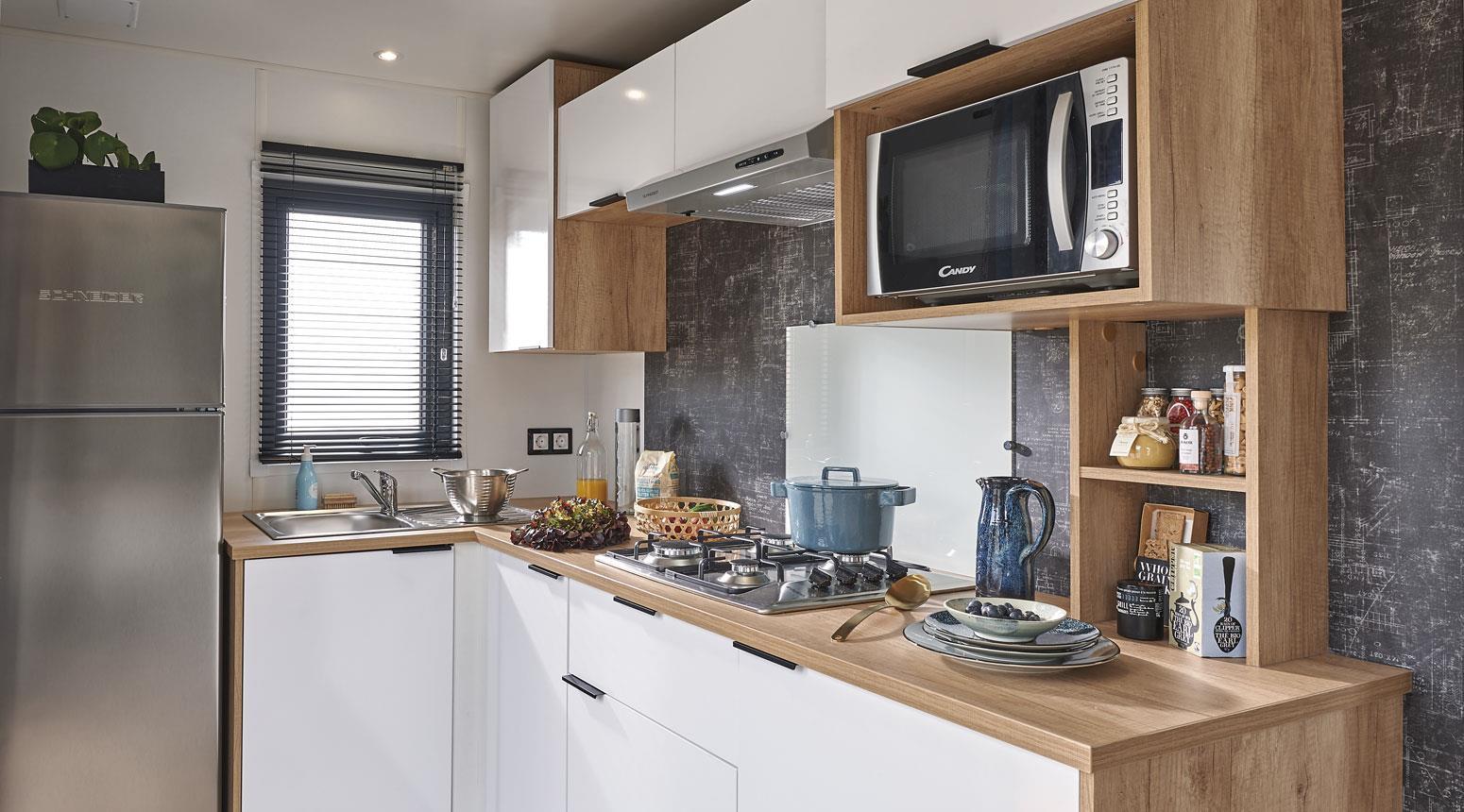 Location - New 2021 ! Cottage Neuf Dedans Dehors Avec Cuisine Ouverte Sur La Terrasse - 32 M² - Tv, Climatisation - Camping Sites et Paysages Etang de Bazange