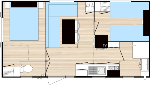 Location - Mobilhome Ohara (2 Chambres) - Grande Largeur 35M² - Camping Vieille Église