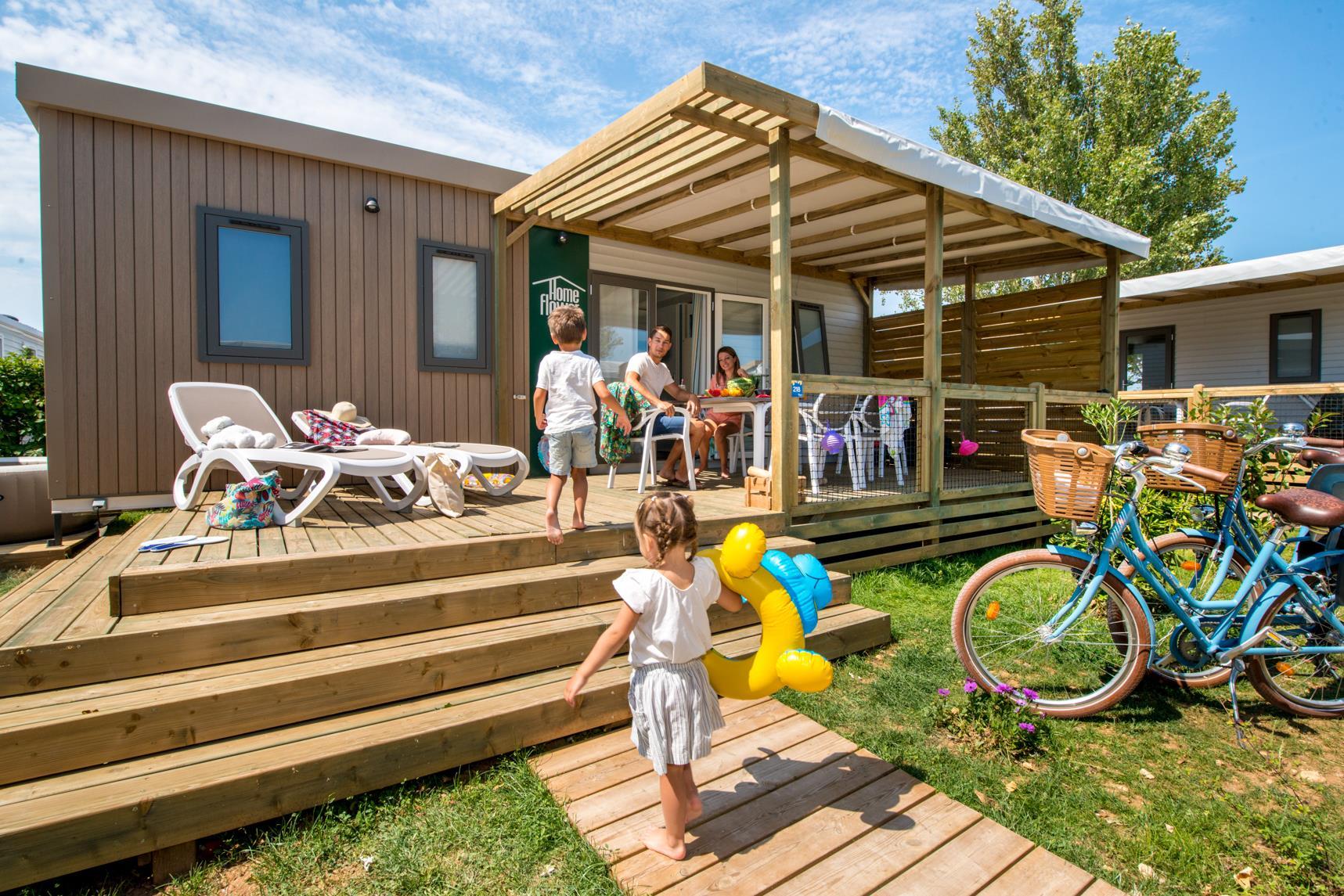 Location - Homeflower Premium 30,5M² (3 Chambres) + Terrasse Semi-Couverte + Tv + Lave Vaisselle + Draps - Camping Les Ilates