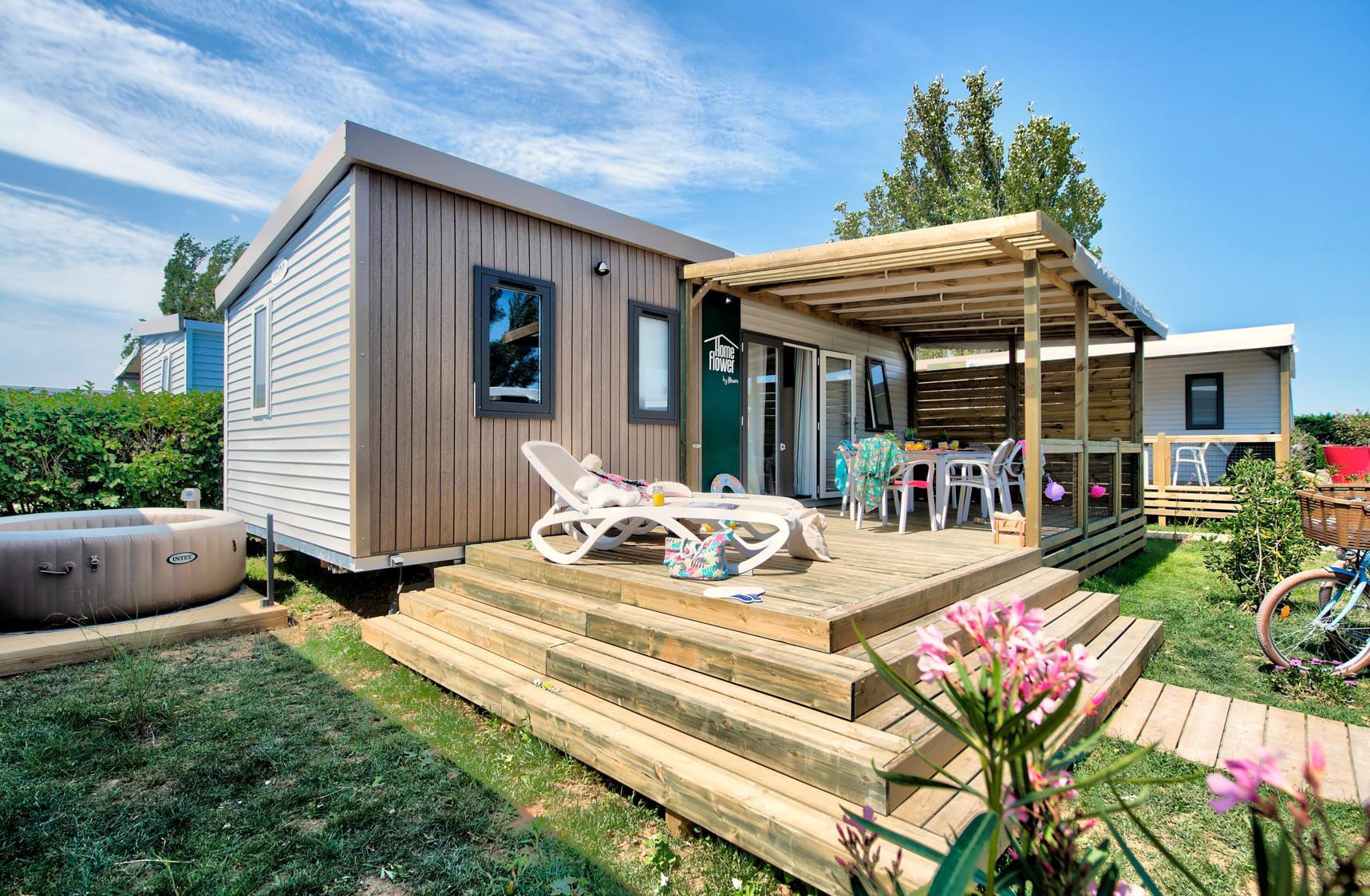 Location - Homeflower Premium 26,5M² (2 Chambres) + Terrasse Semi-Couverte + Tv + Lave Vaisselle + Draps - Camping Les Ilates