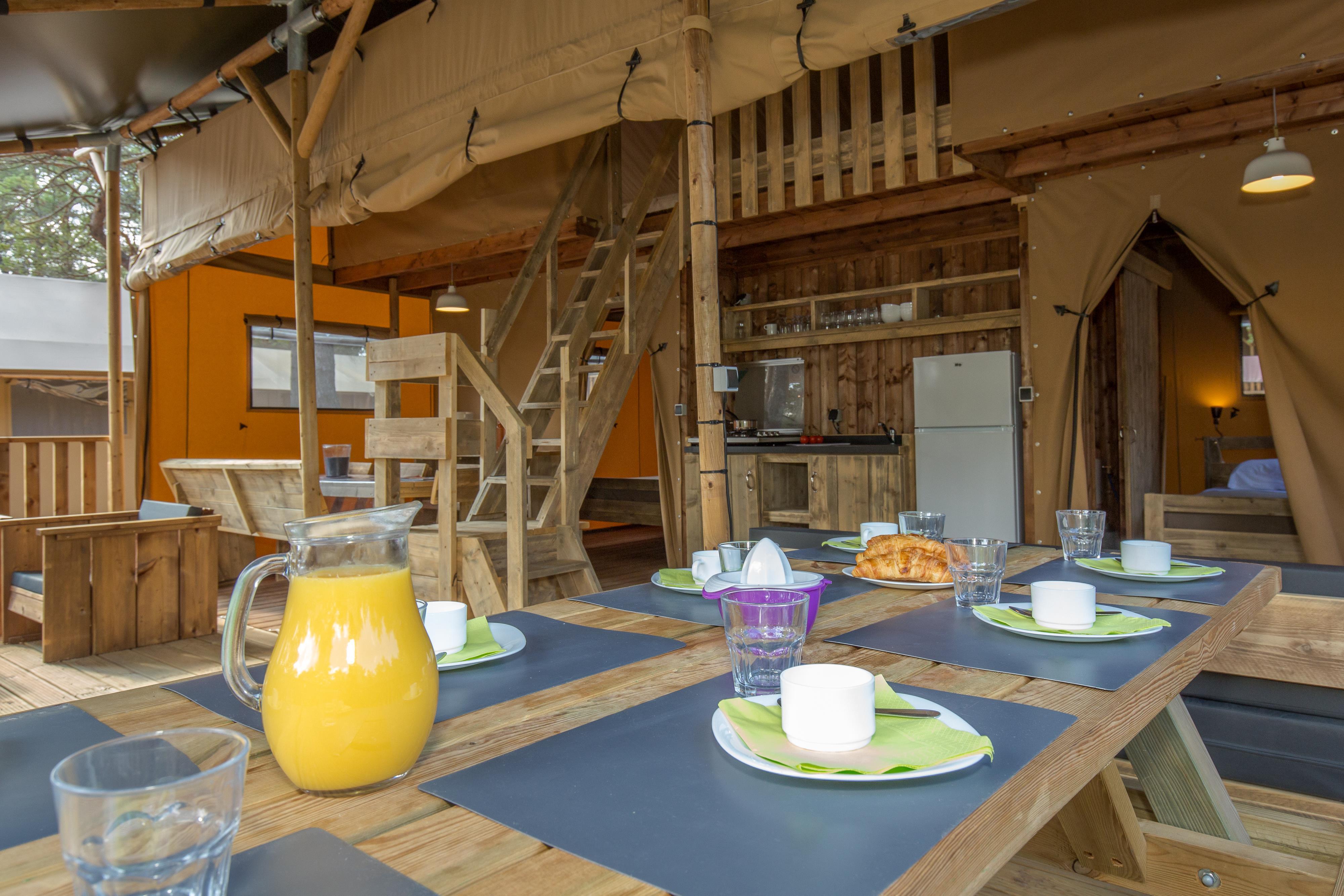 Location - Tente Ciela Nature Lodge - 80M² - 2 Chambres - 1 Mezzanine - Salle De Bain - Camping La Farigoulette