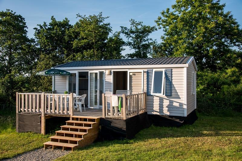 Location - Mobil-Home Riviera Superieur 27M² / 2 Chambres + Terrasse Couverte (2013) + Tv - Camping de Mesqueau