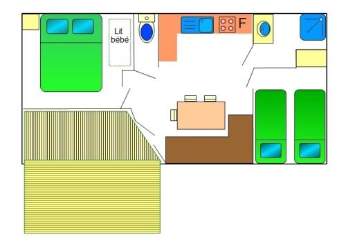 Mobil-home Pacifique 25m² (2 chambres) + terrasse couverte