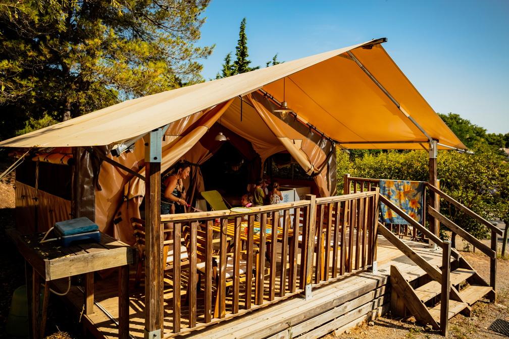 Location - Tente Lodge - Camping Sites et Paysages La Pinède