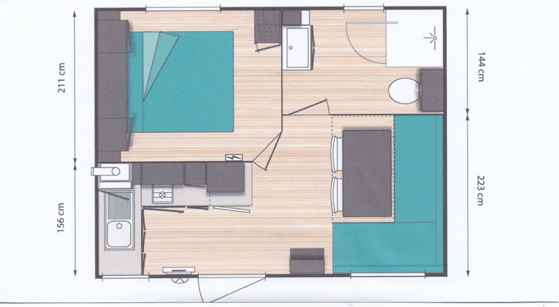Location - Mobil Home 1 Chambre Climatisé/Tv (-7Ans) - Camping Saint Gabriel