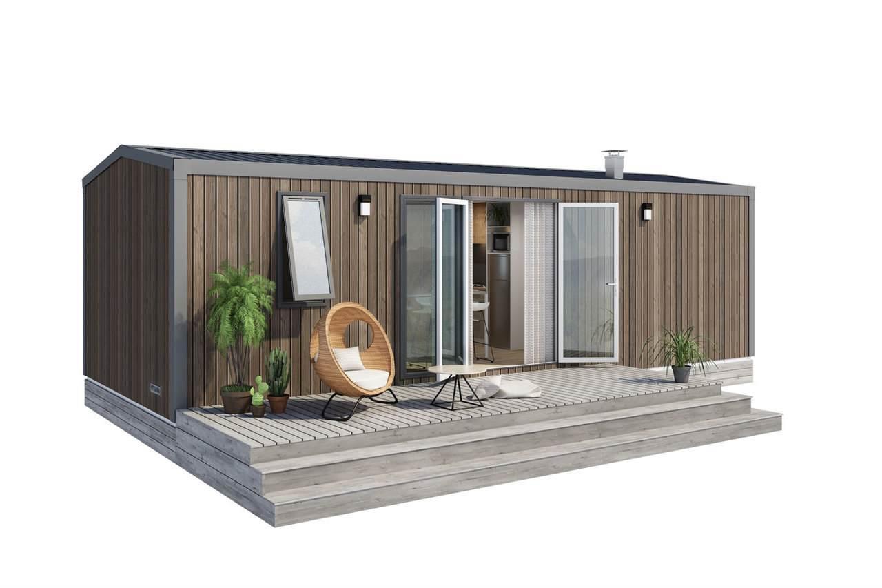 Location - Mobil Home Grand Confort Lodge Avec Tv 3 Chambres + Terrasse - Année 2020 - Camping Baie de Térénez