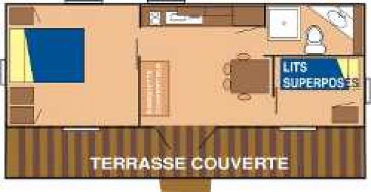 Location - Chalet Confort 32M² (2 Chambres) + Terrasse Couverte 16.40M² Personne À Mobilité Réduite  - - Camping de Kerleyou