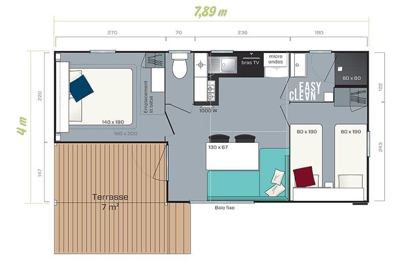 Location - Mobil Home Les Alizés : 24.20 M² + 7 M² De Terrasse Semi Couverte (2 Chambres) - Camping Au Port-Punay