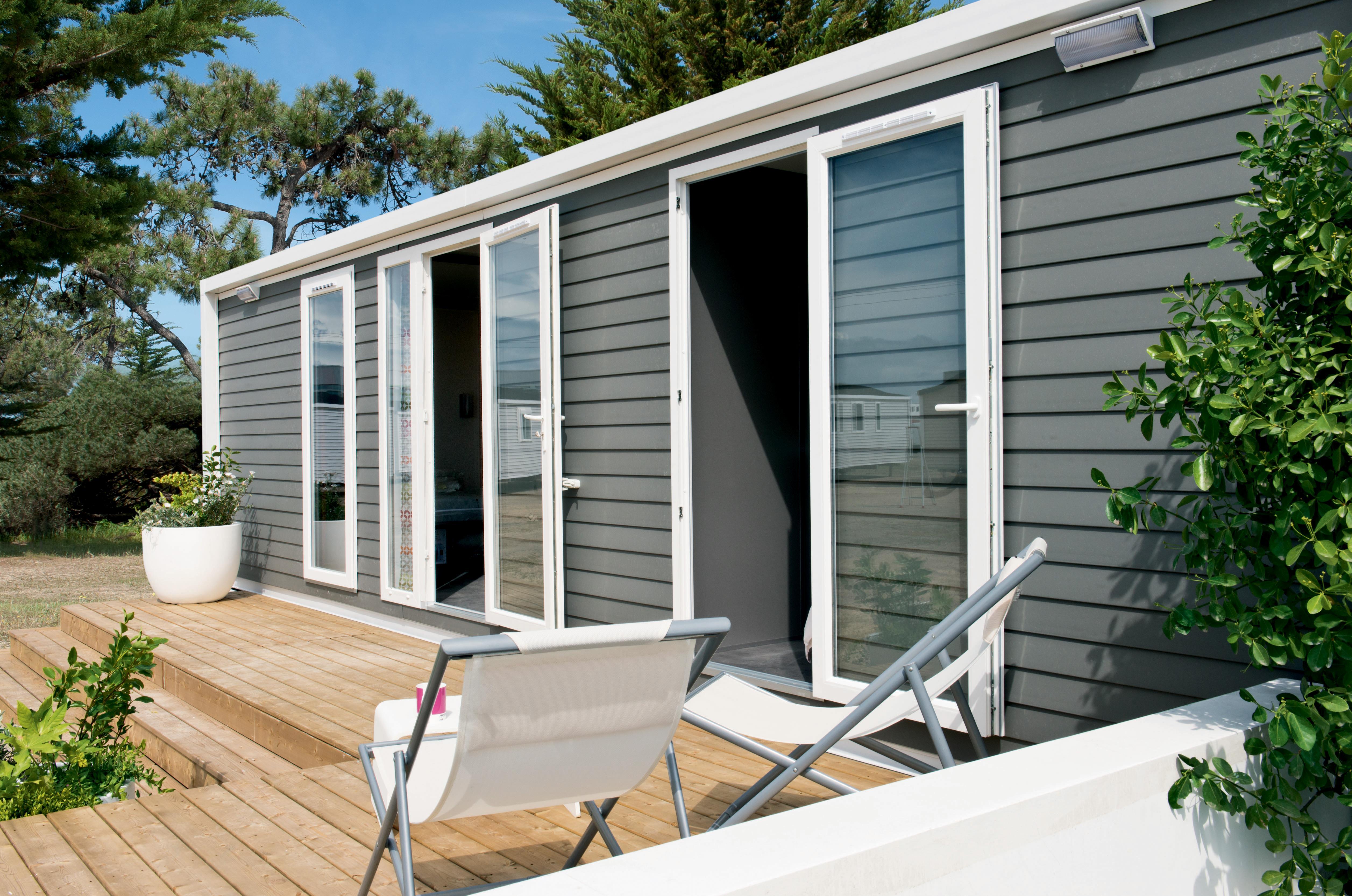 Location - Mobil-Home Prestige 33M² (2 Chambres) - 2 Salles De Bains  Climatise / Lave Vaisselle / Tv  Incluse Dans Chaque Chambre - Terrasse Couverte 15M² - Flower Camping Domaine de Gajan
