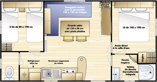 Mobil-Home C 27M² 2 Bedrooms