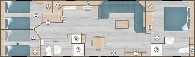 Location - Mobil-Home Luxe -  65 M2 (3 Chambres - 2 Sdb) - Camping Les Lacs de Courtès