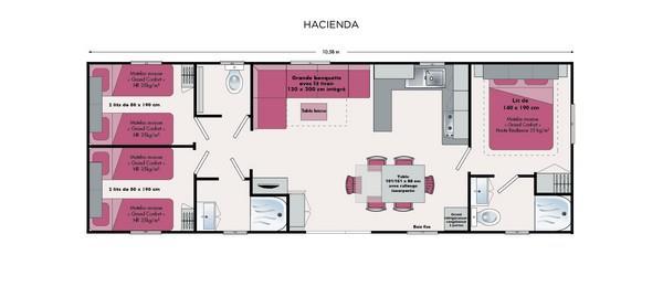 Location - Mobil Home Grand Confort - 58 M2 (3 Chambres - 2 Sdb) - Camping Les Lacs de Courtès