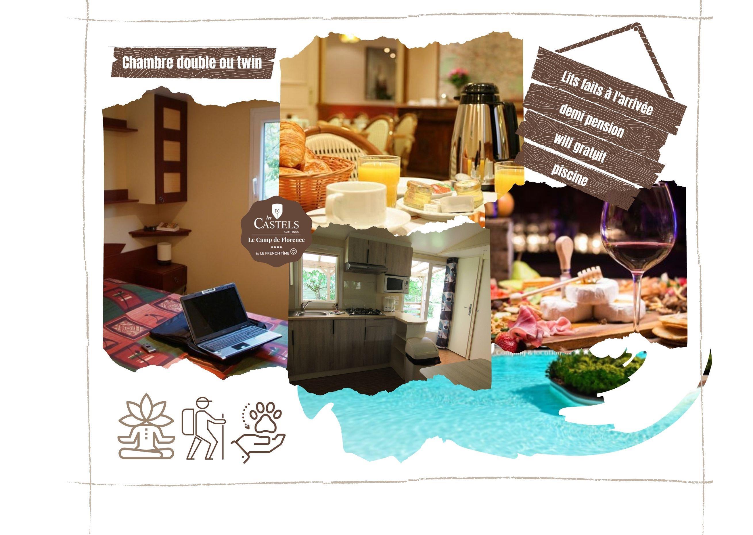 Chambre - Chambre: Diner Et Petit Déjeuner Inclus (Demi-Pension) - Camping Castel Le Camp de Florence