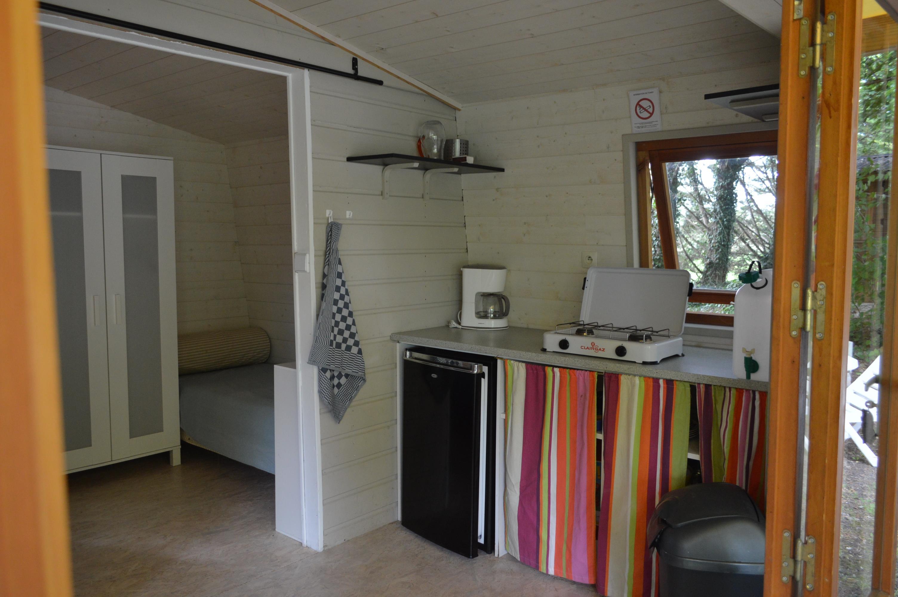 Location - Lodge Bois - Jusqu'à 3 Personnes - Camping Le Petit Lion des Tourbières
