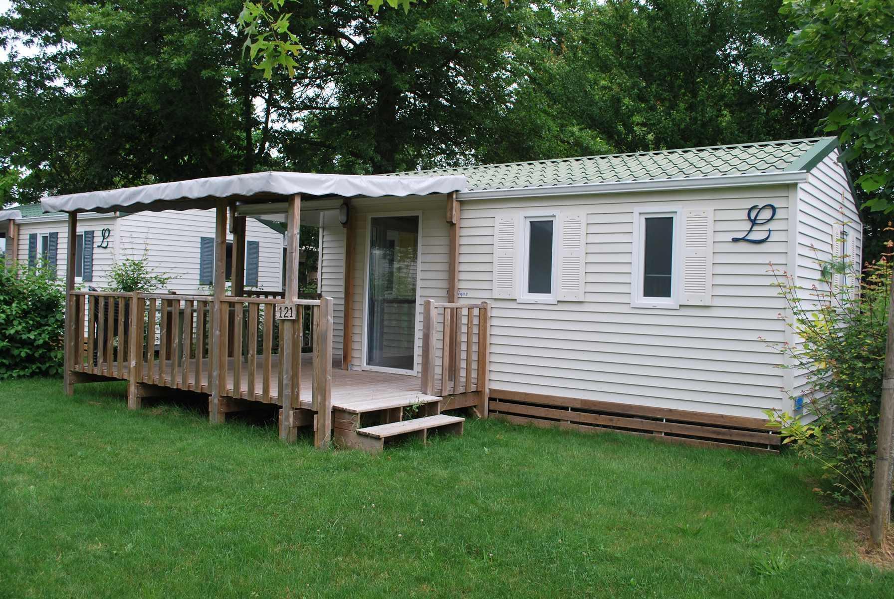 Location - Eco Mobil Home Louisiane 28M² (2 Chambres) + Terrasse Couverte - Camping Du Lac de la Chausselière