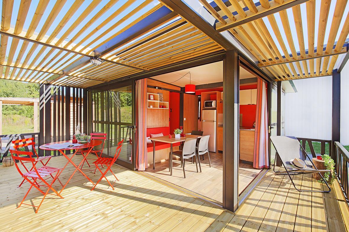 Location - Premium Chalet Nouméa 25M² (2 Chambres) + Terrasse Couverte - Camping Du Lac de la Chausselière