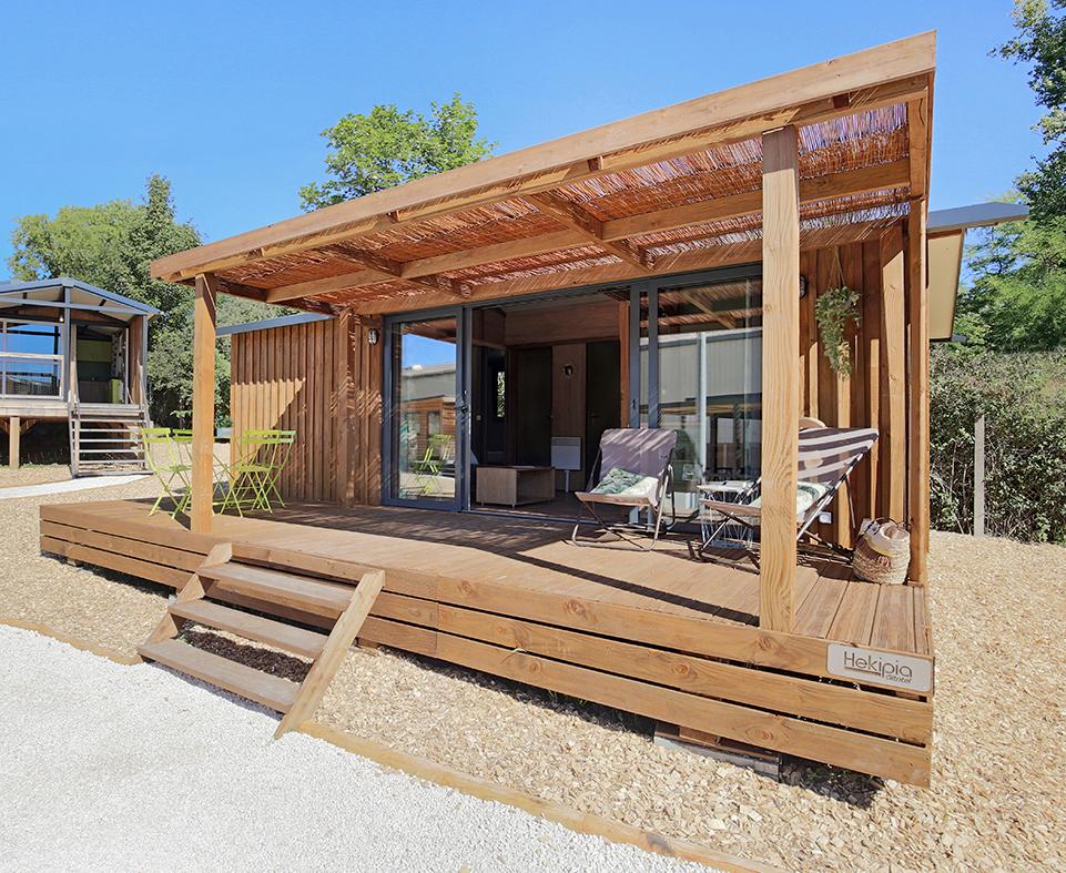 Location - Premium Côté Nature Chalet Portland 35M² (3 Chambres) + Terrasse Couverte Xxl 7 Pers. - Camping Du Lac de la Chausselière