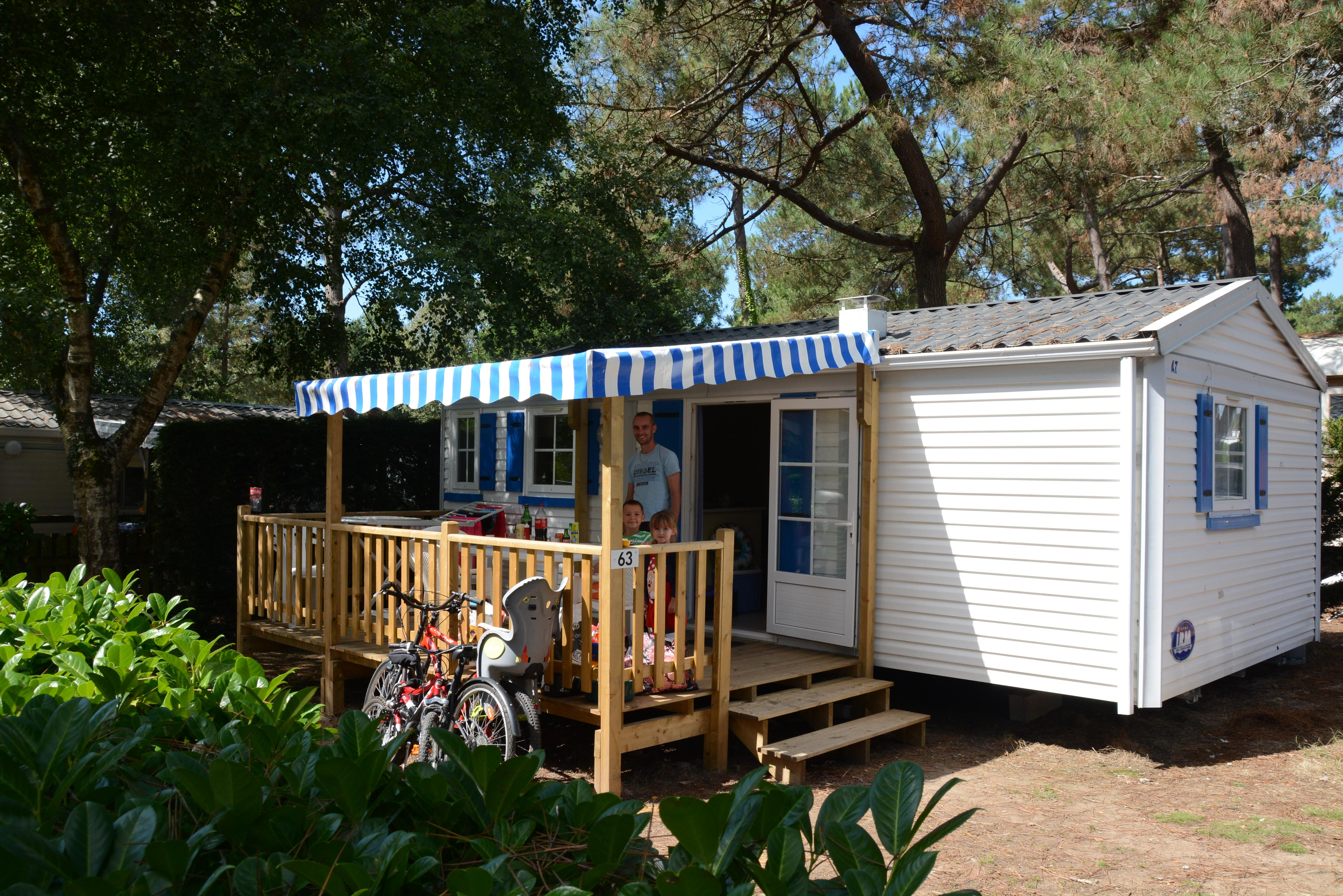 Location - Mobil Home Acacia Ecot 28M² - 2 Chambres + Terrasse Couverte - Camping Le Fort Espagnol
