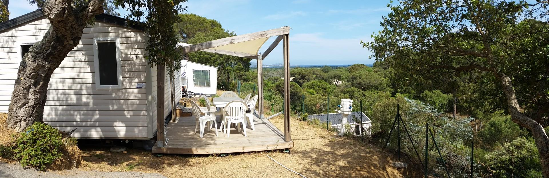 Location - Mobilhome Confort 28M² Clim Inclus - Camping Les Lauriers Roses