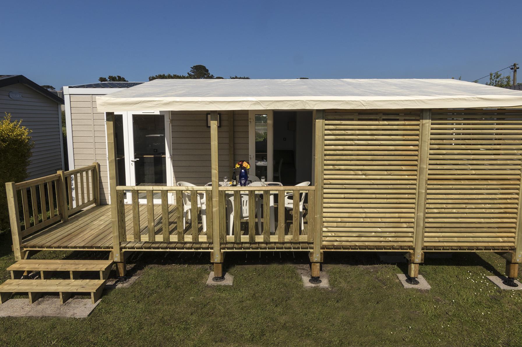 Location - Mobilhome Prestige 30M² - 2 Chambres - Terrasse Couverte - Spa - Lave Vaisselle - Wifi - Camping Le Mat