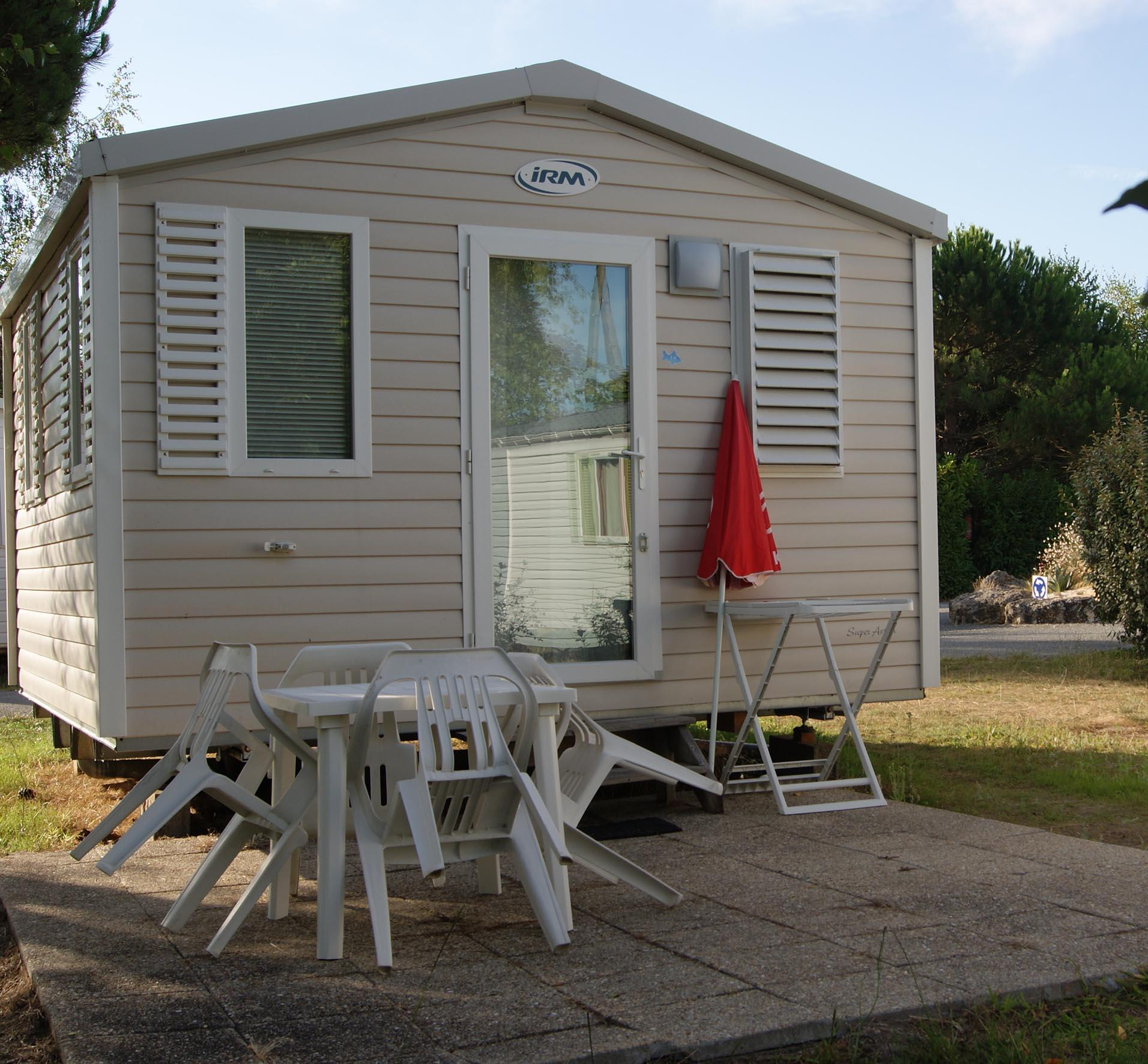 Location - Mobil-Home Eco 17M² (1 Chambre) + Terrasse - Camping Les Étangs Mina