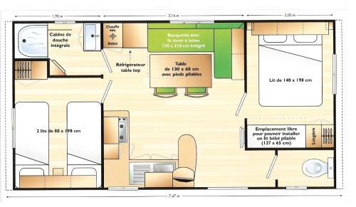 Mobil home 28m²  2 chambres + 15 m² terrasse semi-couverte