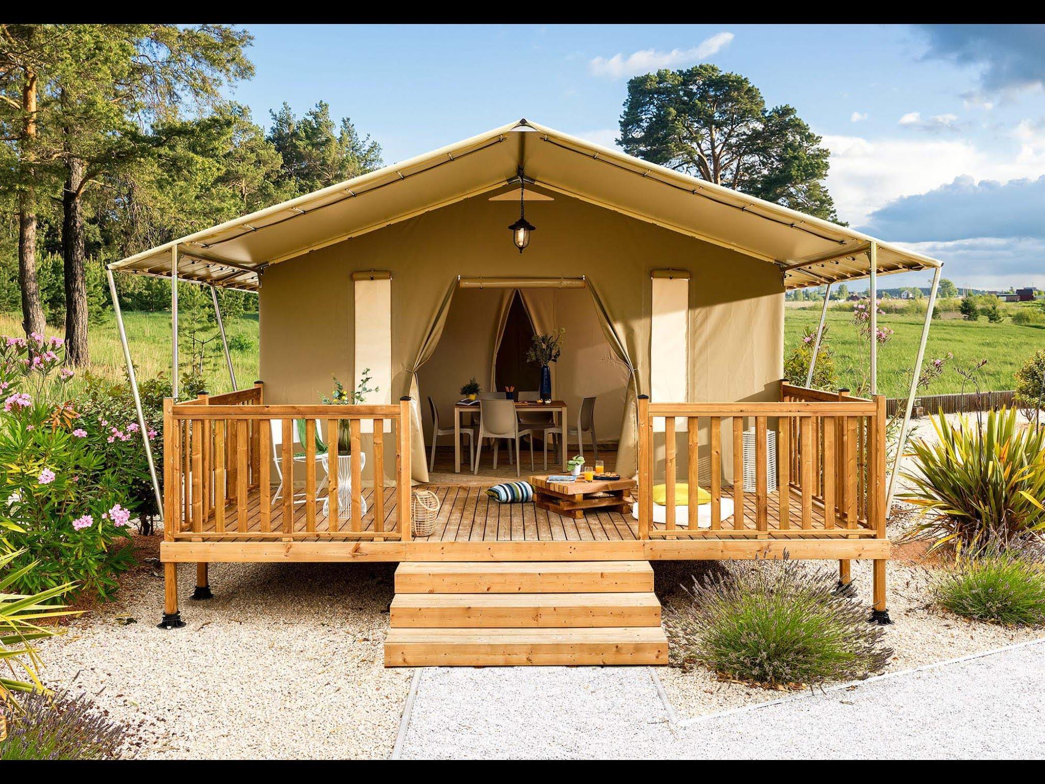 Location - Modern Lodge Avec Sanitaires - Camping Municipal de l'Île de Bidounet