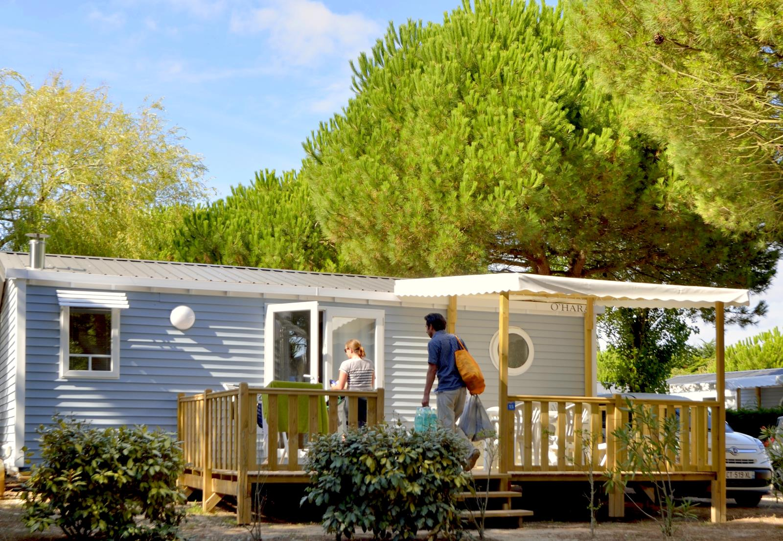 Location - Mobil-Home Confort+ 27.5M² (2 Chambres) + Terrasse Semi-Couverte + Tv - Flower Camping Le Bois d'Amour