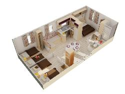 Tamaris- Louisiane -3 chambres- +/- 34 m²