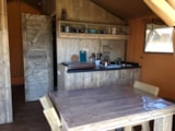 Rental - Lodge with wooden terrace  x 3 - Glamping Sainte-Suzanne