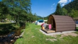 Rental - ECO Wooden hut ECO-POD 6m² + terrace - without private facilities - 2015 - Flower Camping VERTE VALLEE
