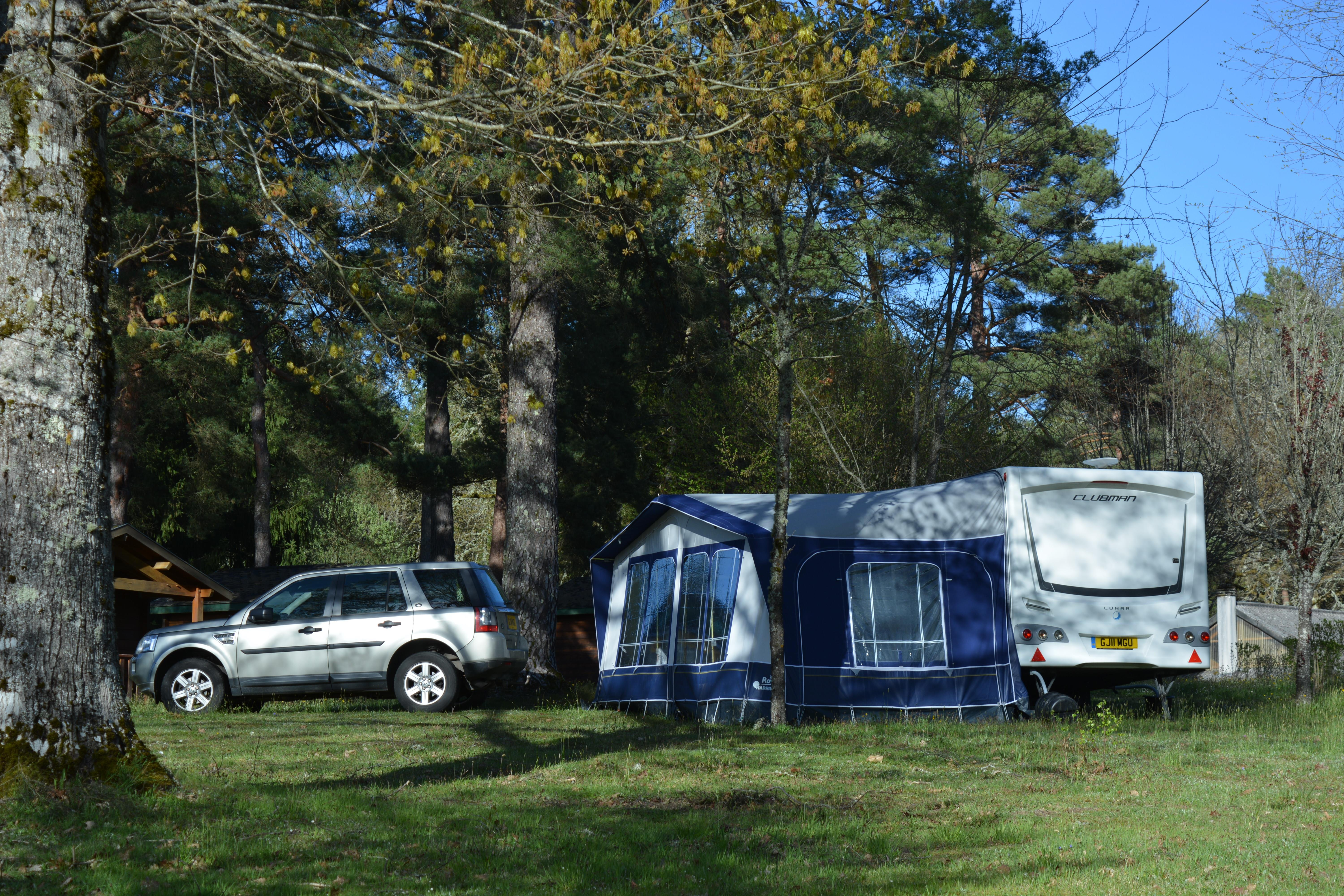 Pitch + car + tent or caravan + electricity