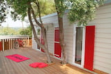 Huuraccommodaties - Cottage VIP 36 m² - 2 slaapkamers - houten terras, airconditioning, tv - Camping Holiday Green